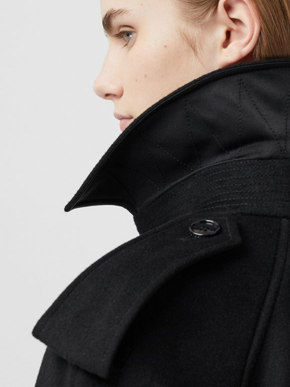 Fringed Wool Cashmere Trench Coat in Black - Women | Burberry Australia - cell image 1