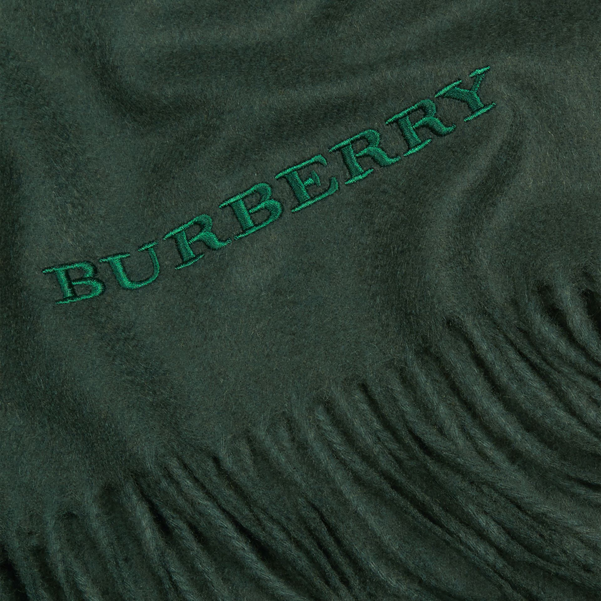 Cashmere Blanket in Dark Forest Green | Burberry United Kingdom - gallery image 2