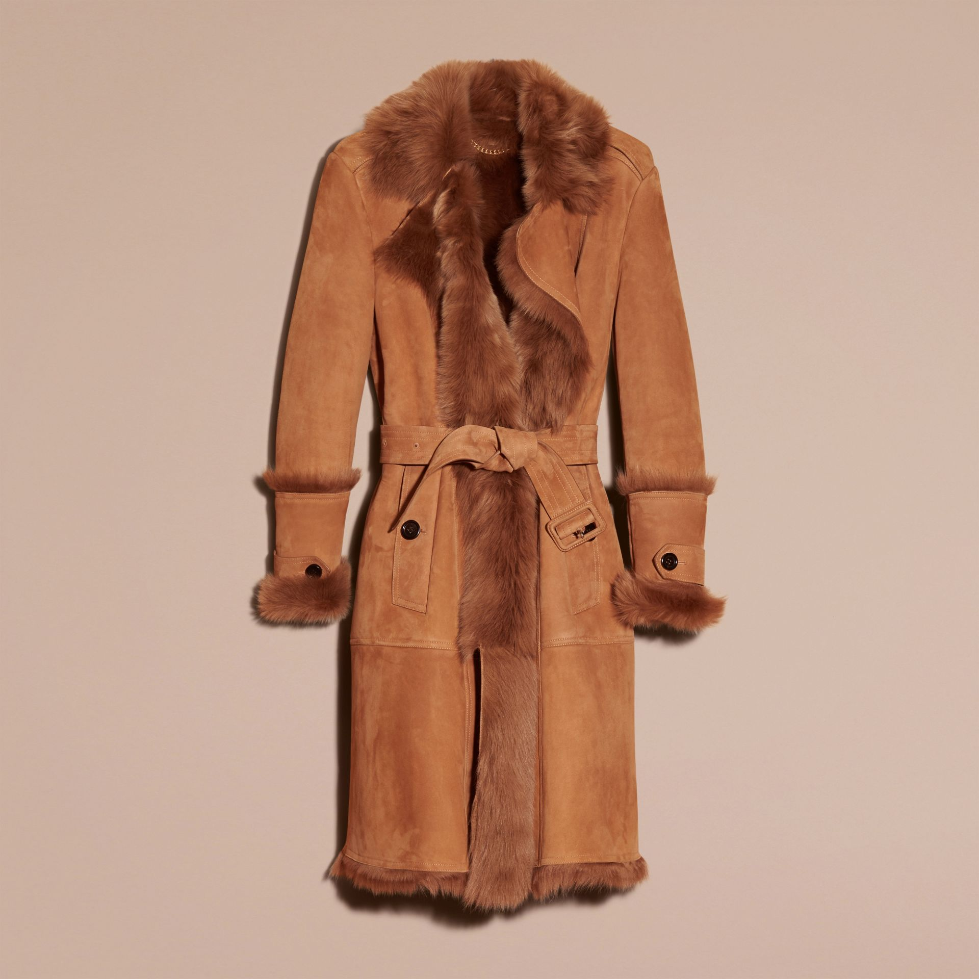 Dark camel Shearling Wrap Coat - gallery image 2
