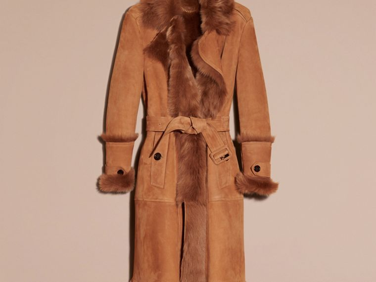 Dark camel Shearling Wrap Coat - cell image 1