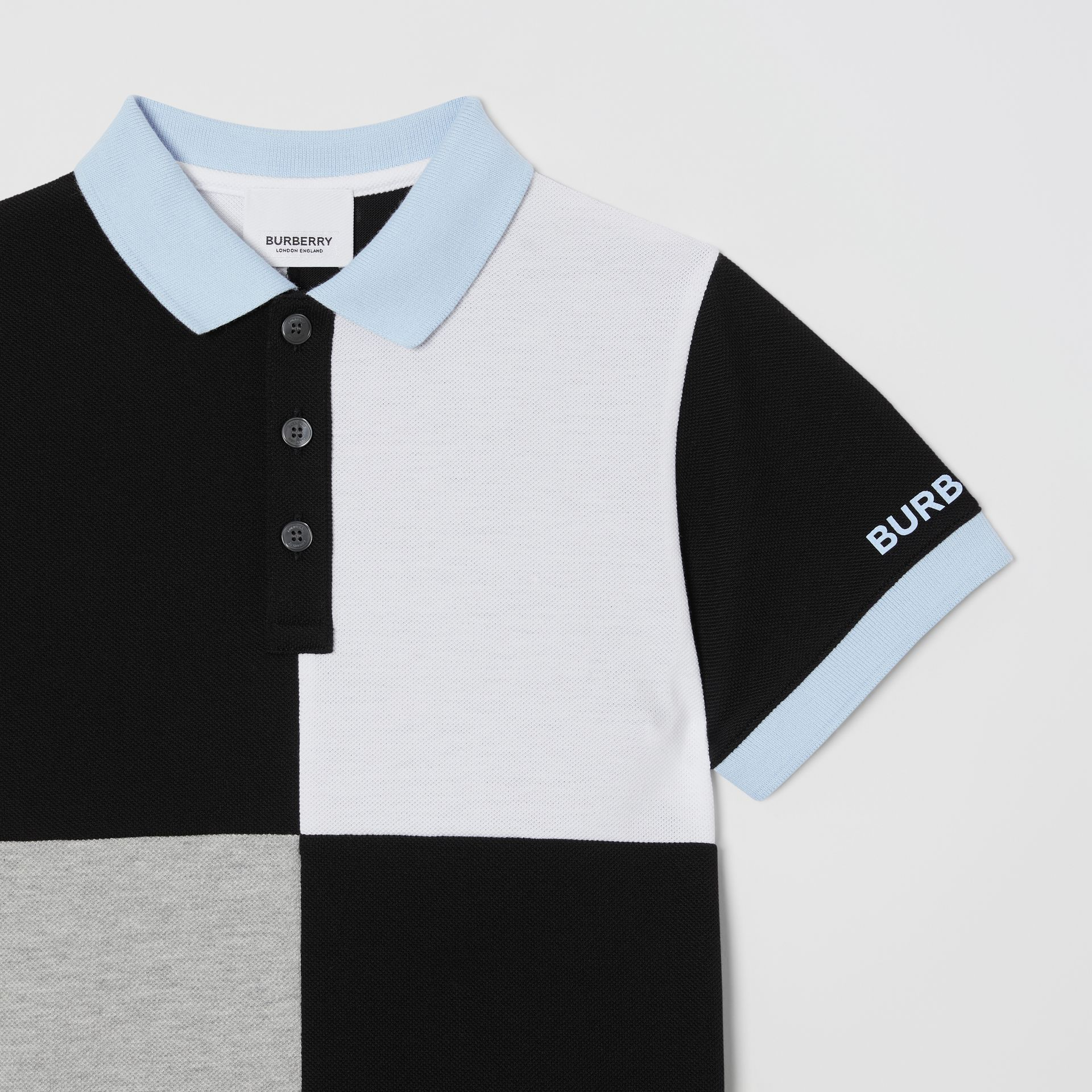 Colour Block Knit Cotton Polo Shirt in Grey Melange | Burberry - gallery image 4