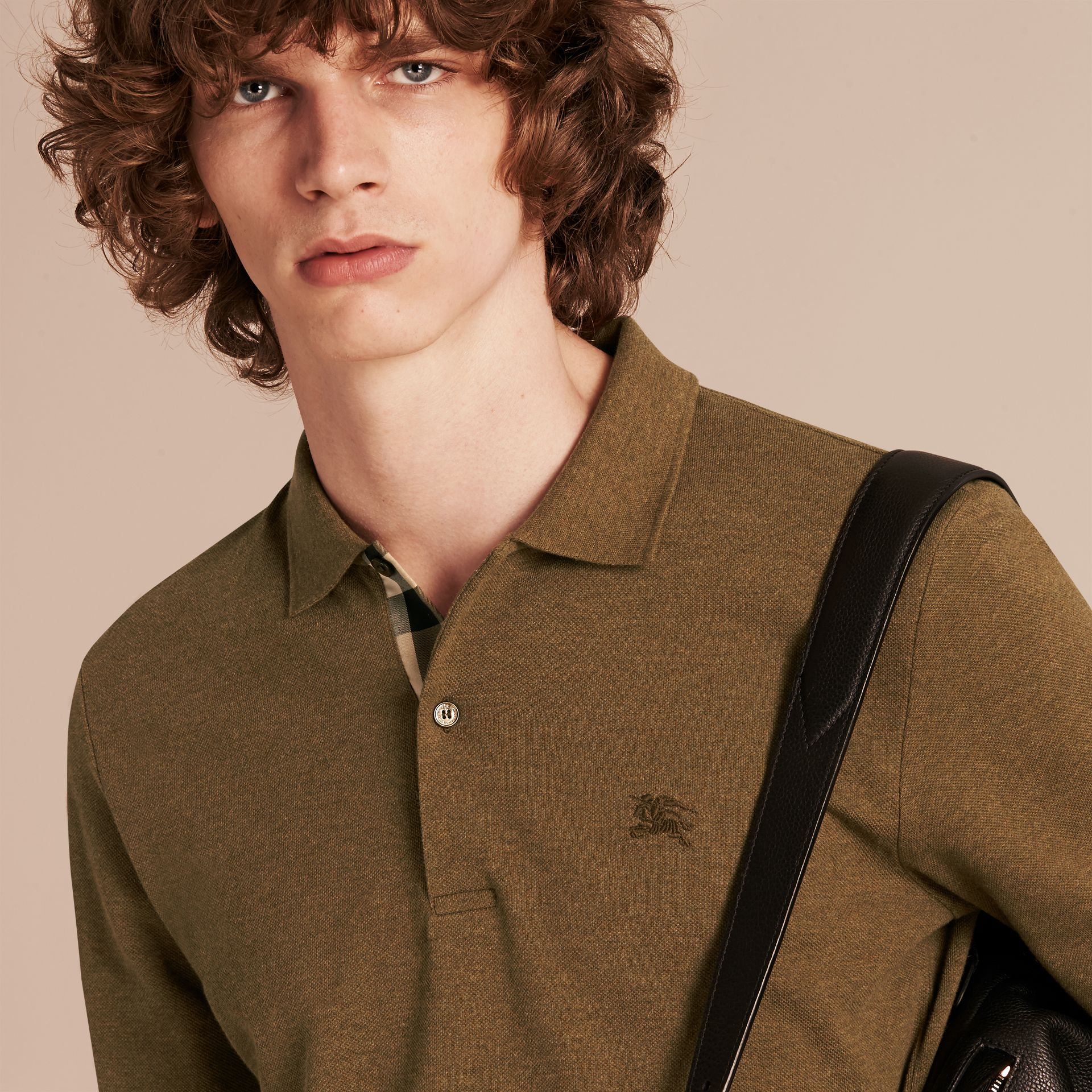 Military green mel Check Placket Long Sleeve Polo Shirt Military Green Mel - gallery image 5