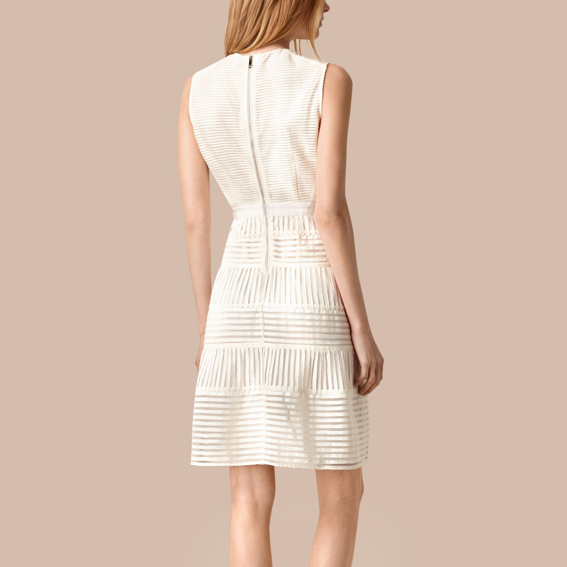 White Panelled Mesh Dress White - gallery image 2