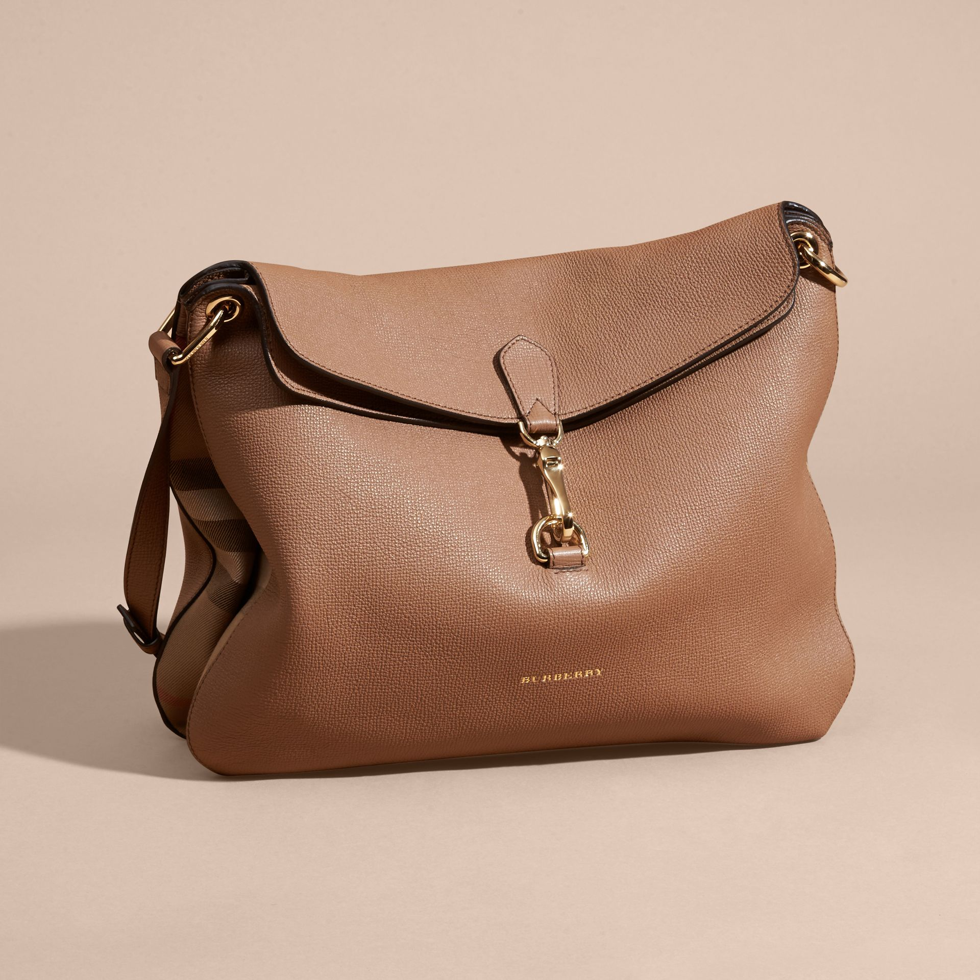 Dark sand Grainy Leather and House Check Shoulder Bag - gallery image 7