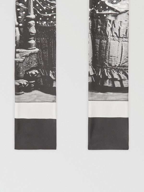 Victorian Portrait Print Silk Skinny Scarf in Grey | Burberry - cell image 3