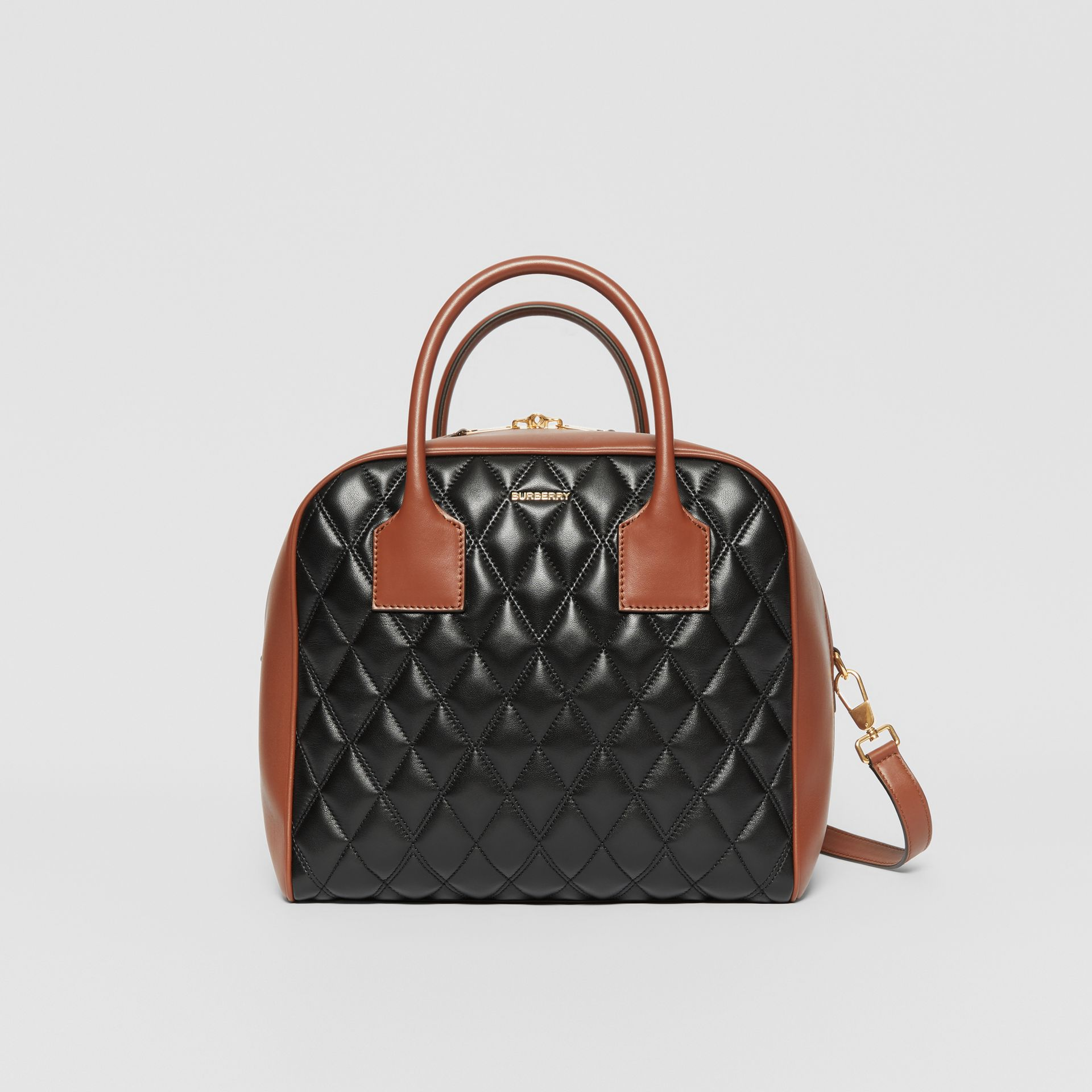 Medium Quilted Lambskin Cube Bag in Black - Women | Burberry - gallery image 0