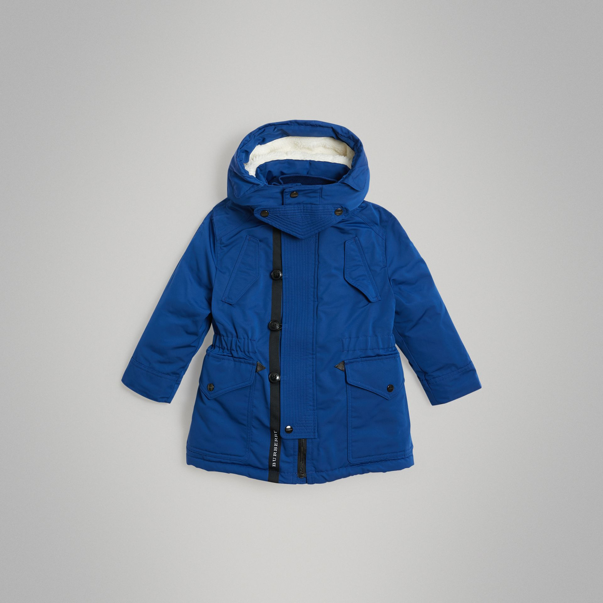 Detachable Hood Down-filled Parka Coat in Bright Cobalt | Burberry United Kingdom - gallery image 0