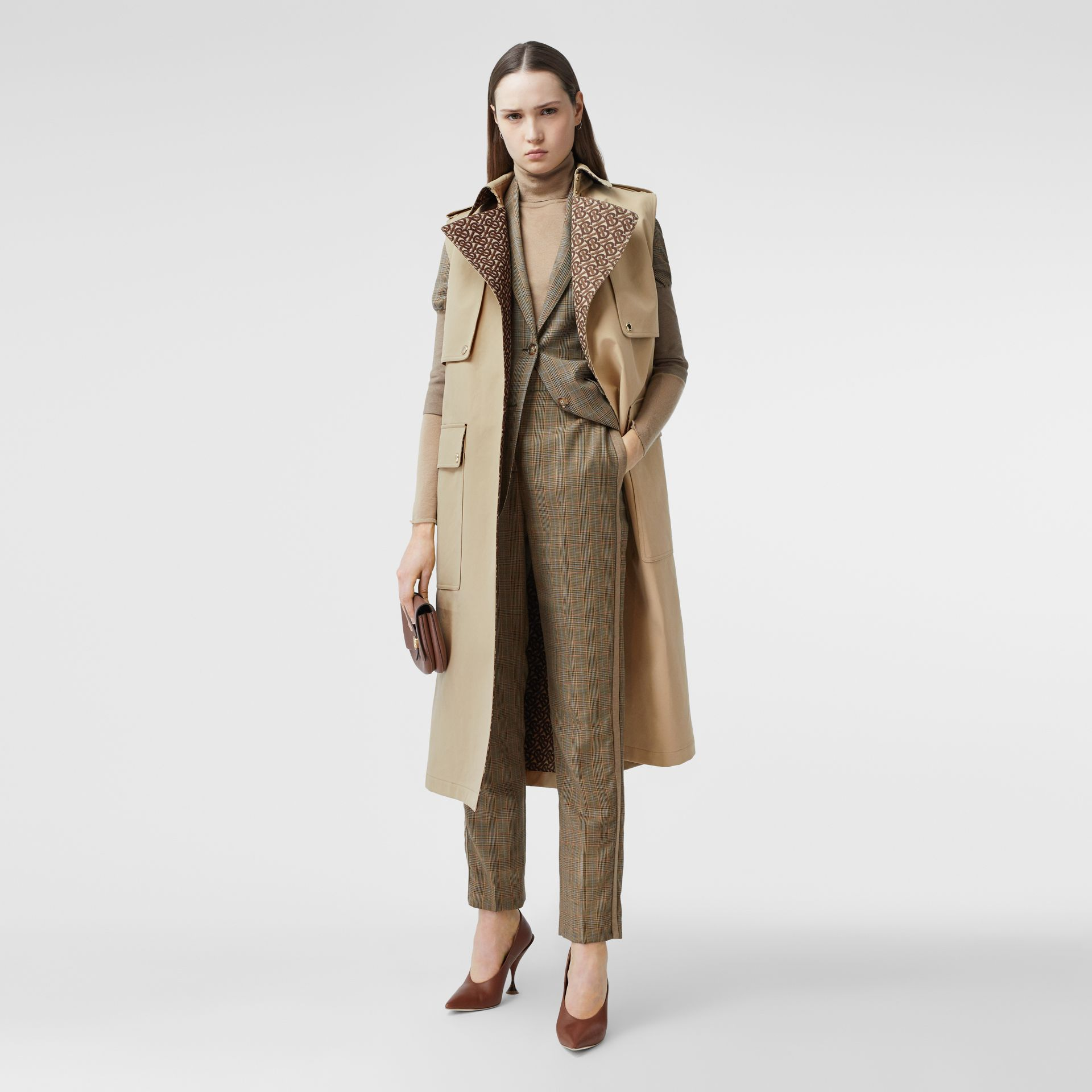 Sleeveless Monogram-lined Cotton Trench Coat in Honey - Women | Burberry - gallery image 5