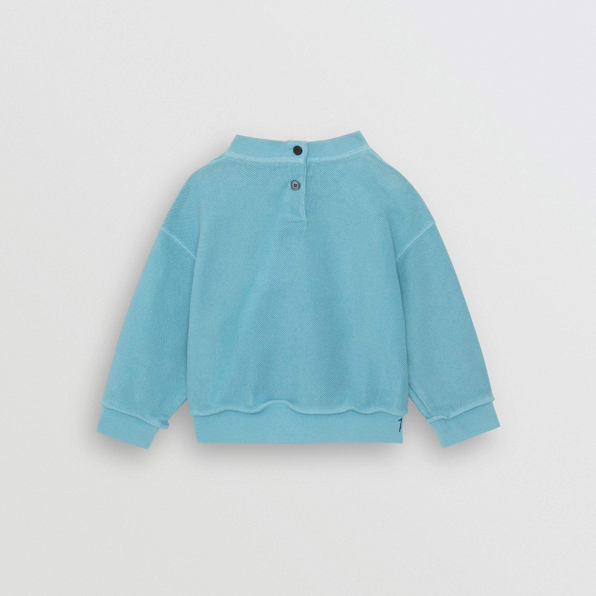 Stencil Logo Print Cotton Sweatshirt in Bright Cyan Blue - Children | Burberry - gallery image 3