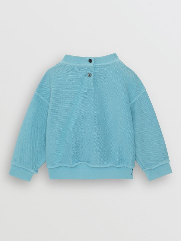 Stencil Logo Print Cotton Sweatshirt in Bright Cyan Blue - Children | Burberry - cell image 3
