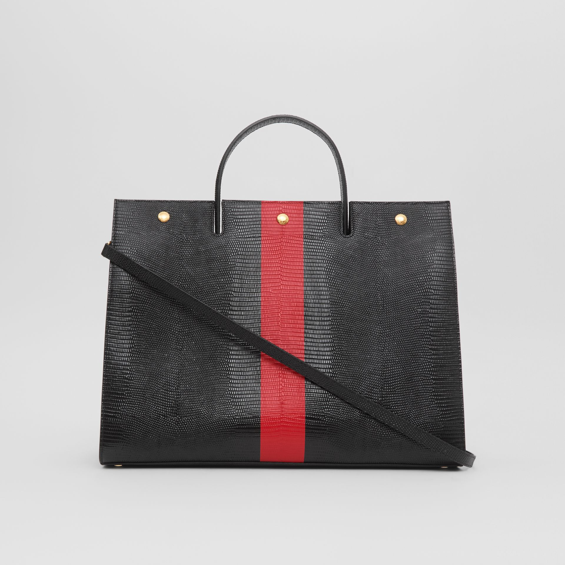 Large Striped Embossed Leather Title Bag in Black - Women | Burberry Australia - gallery image 7