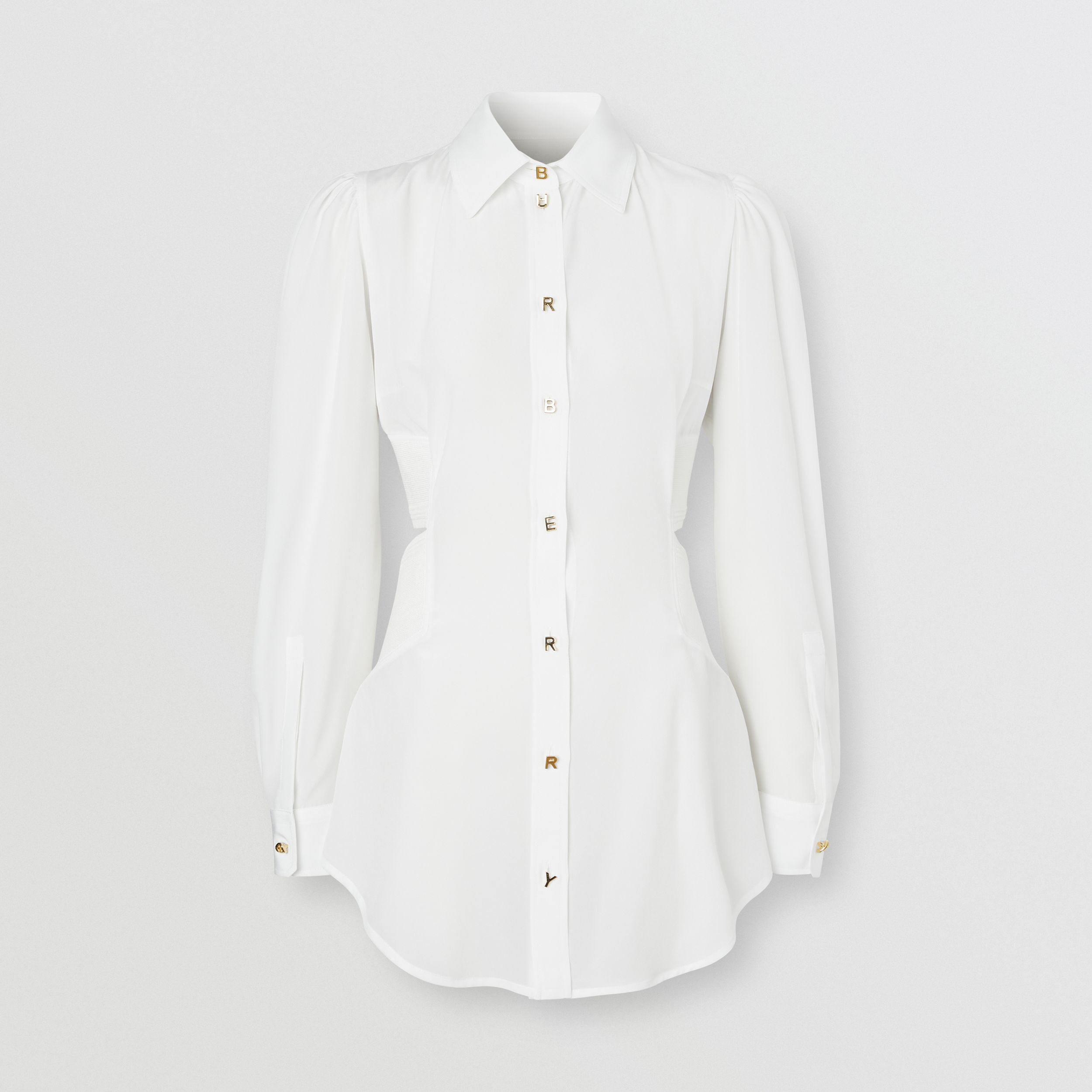 Logo Detail Cut-out Silk Shirt in Optic White - Women | Burberry - 4