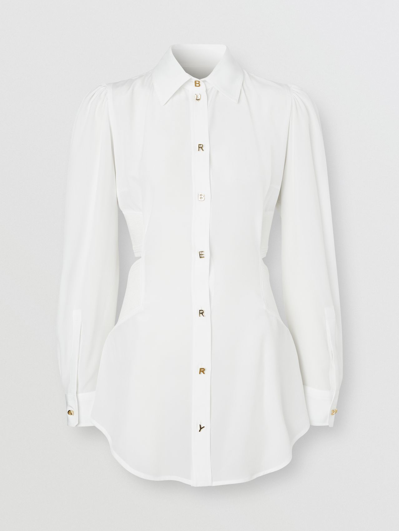 Logo Detail Cut-out Silk Shirt in Optic White
