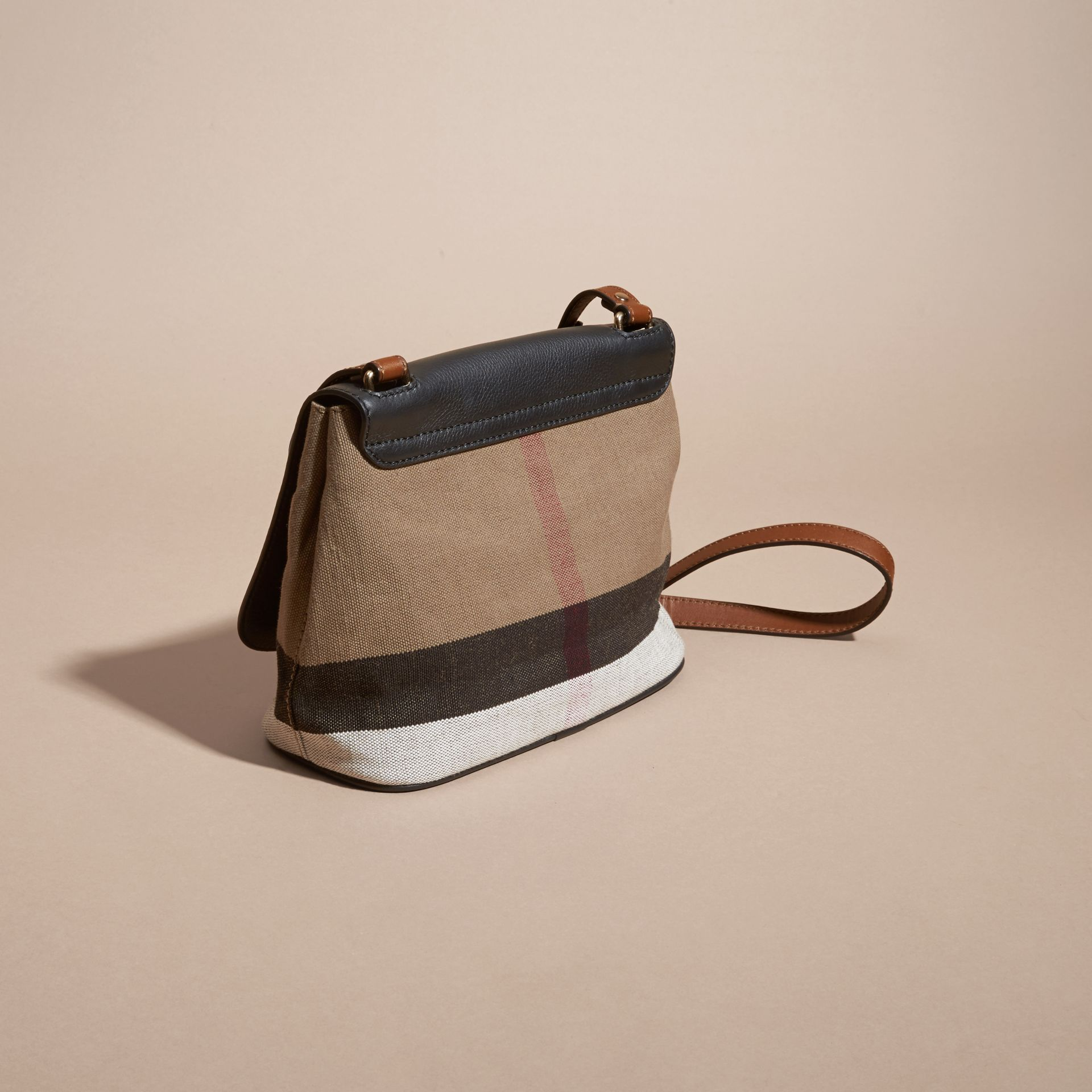 Black Canvas Check and Leather Crossbody Bag Black - gallery image 4