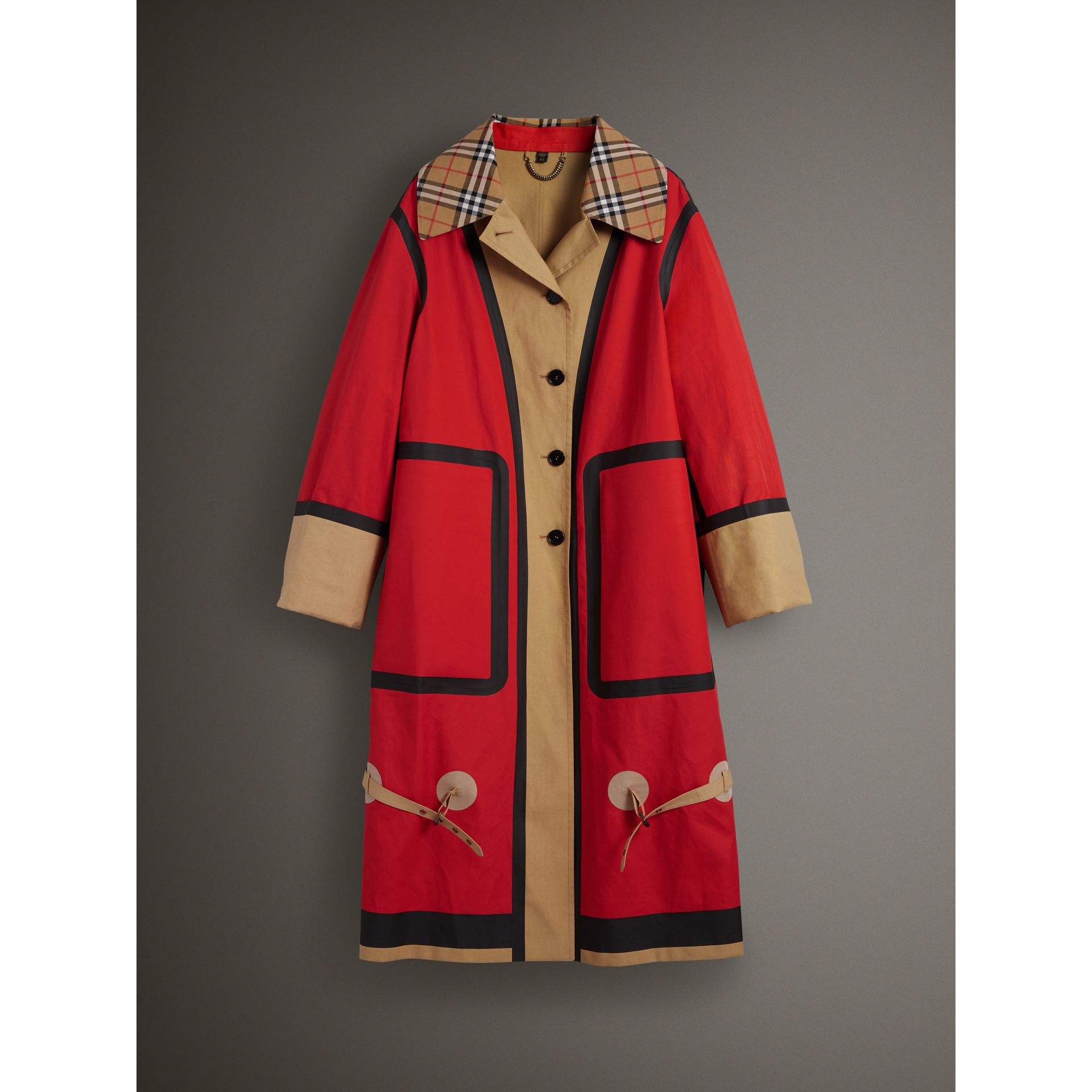 Bonded Cotton Oversized Seam-sealed Car Coat in Red/beige - Women | Burberry United Kingdom - gallery image 3