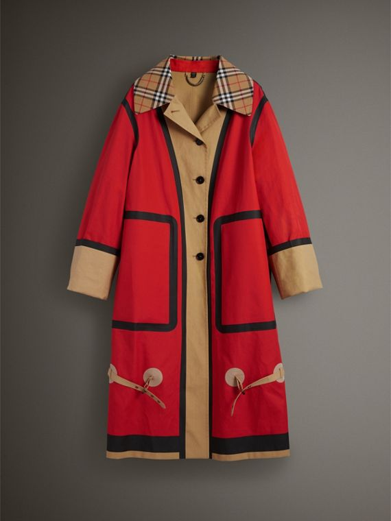 Bonded Cotton Oversized Seam-sealed Car Coat in Red/beige - Women | Burberry Singapore - cell image 3