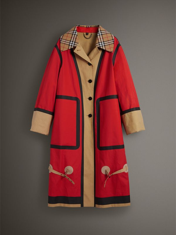 Bonded Cotton Oversized Seam-sealed Car Coat in Red/beige - Women | Burberry United Kingdom - cell image 3