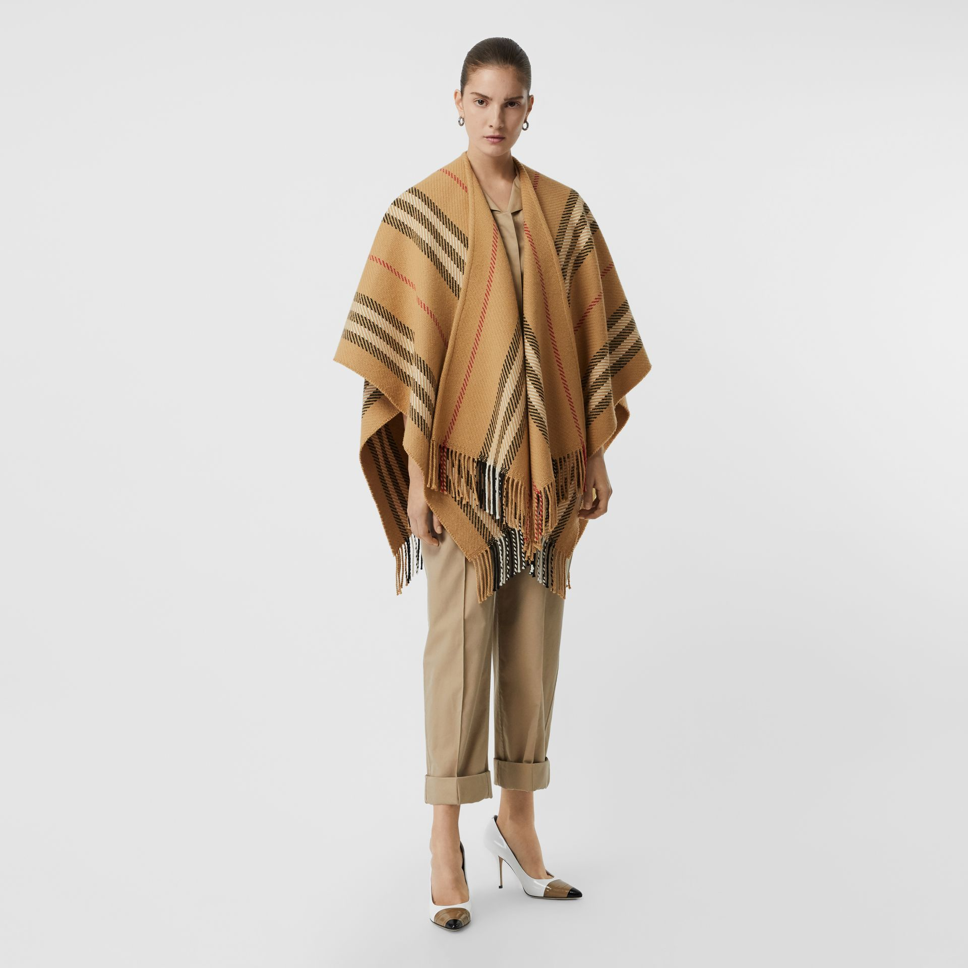 Stripe Wool Cashmere Cape in Black - Women | Burberry Australia - gallery image 0