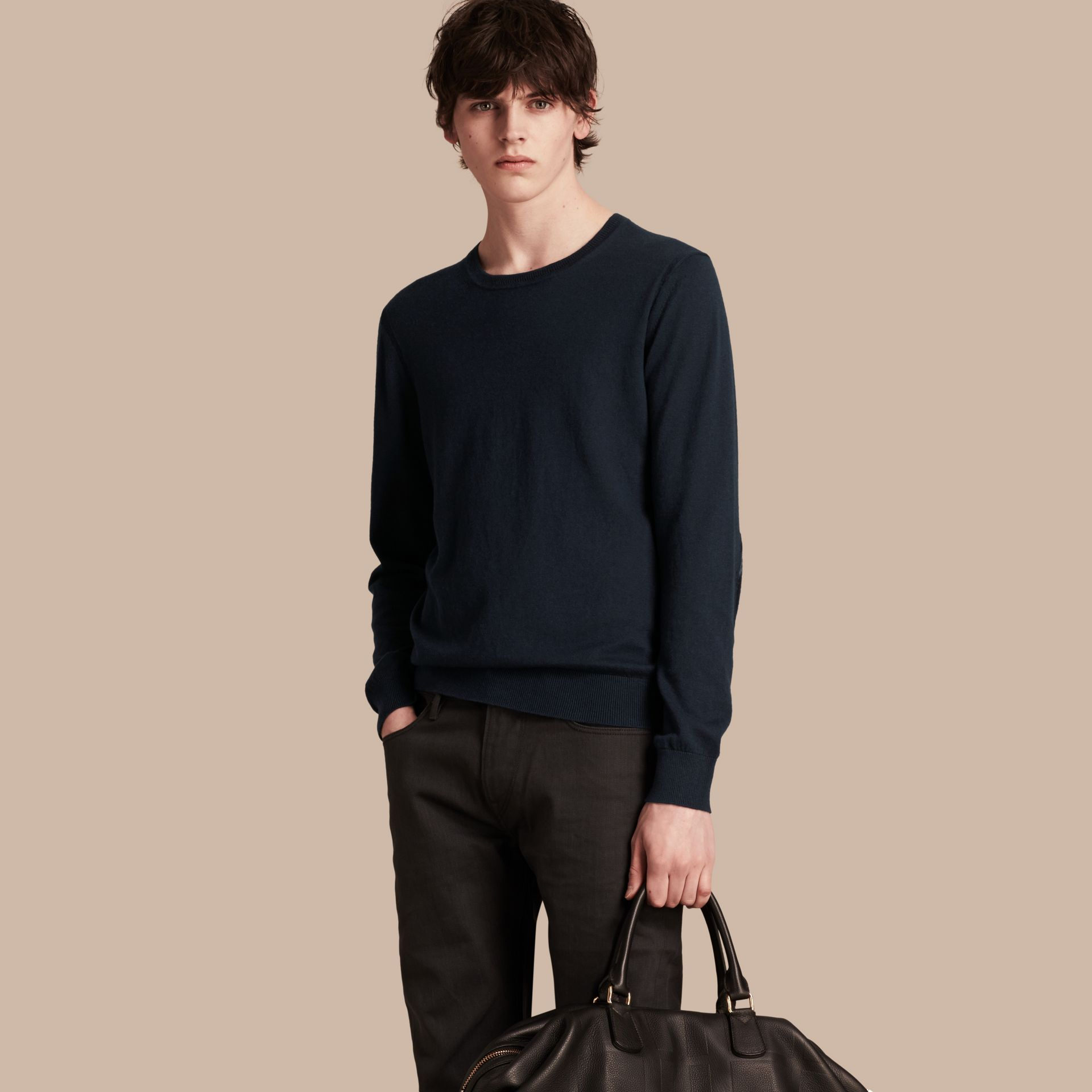 Check Trim Cashmere Cotton Sweater in Navy - Men | Burberry - gallery image 6
