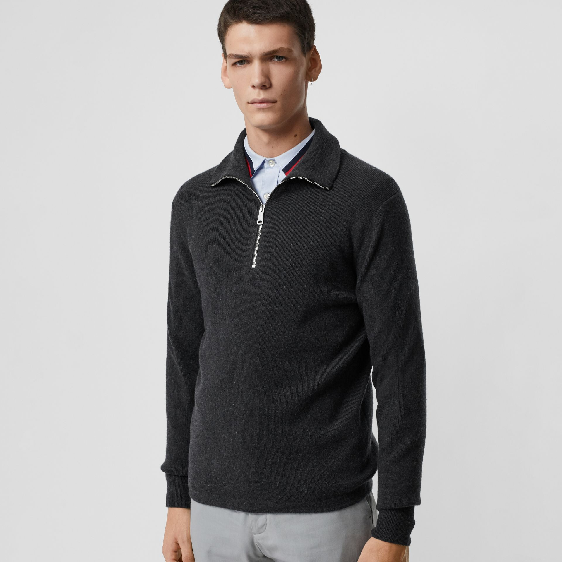 Rib Knit Cashmere Half-zip Sweater in Charcoal Melange - Men | Burberry United Kingdom - gallery image 0