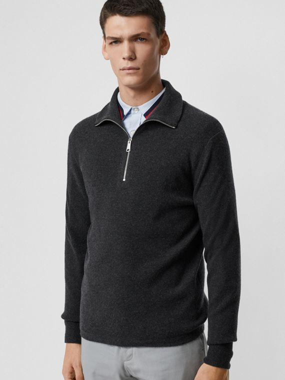 Rib Knit Cashmere Half-zip Sweater in Charcoal Melange