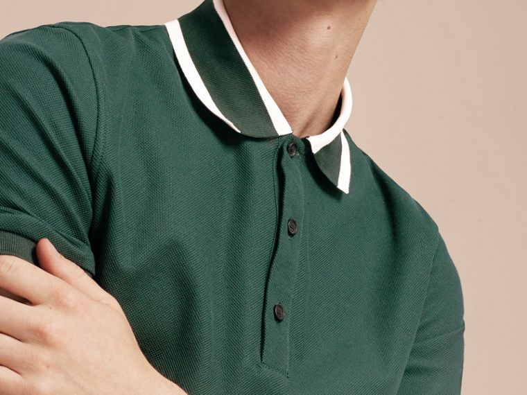 Racing green Striped Collar Cotton Piqué Polo Shirt Racing Green - cell image 4