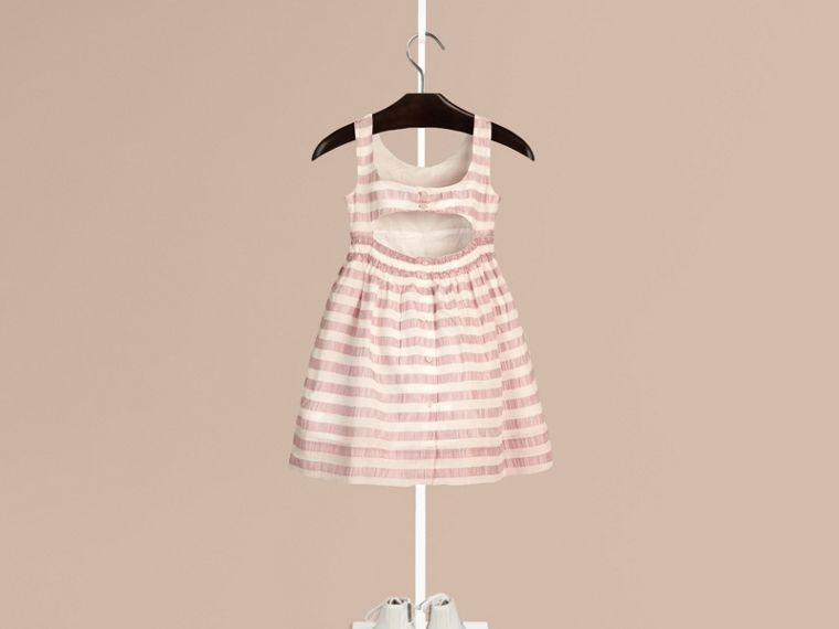 Light copper pink Open-back Detail Striped Silk Dress - cell image 1
