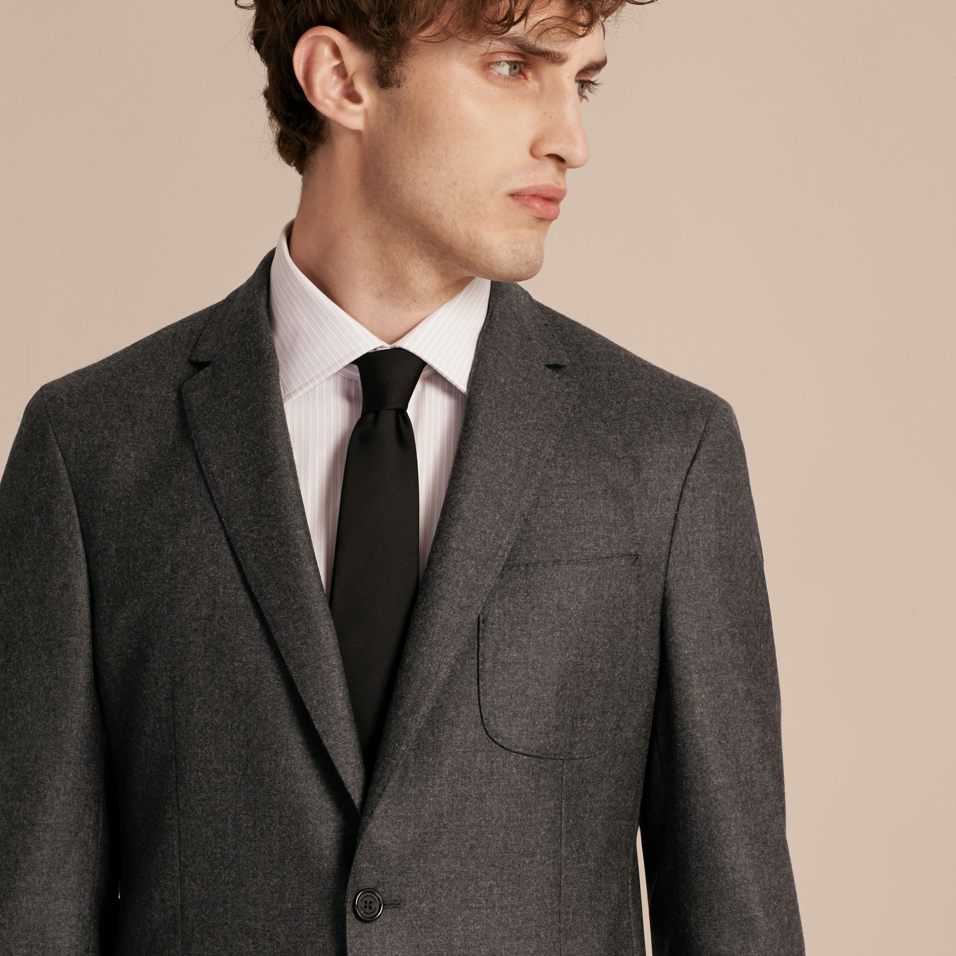 Dark grey melange Modern Fit Tailored Wool Jacket - gallery image 5
