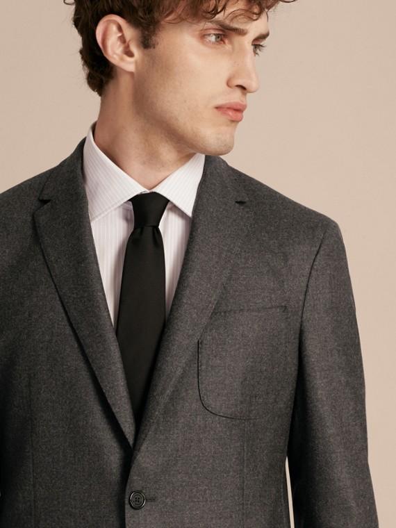 Dark grey melange Modern Fit Tailored Wool Jacket - cell image 3