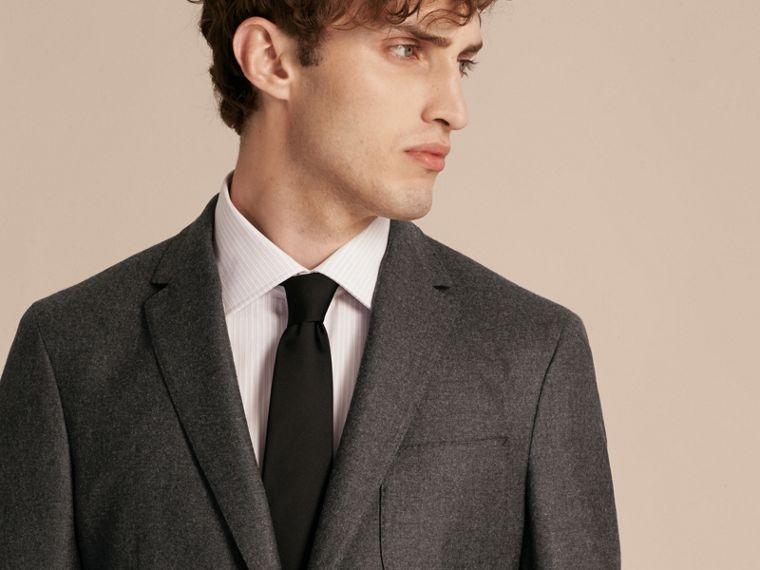 Dark grey melange Modern Fit Tailored Wool Jacket - cell image 4