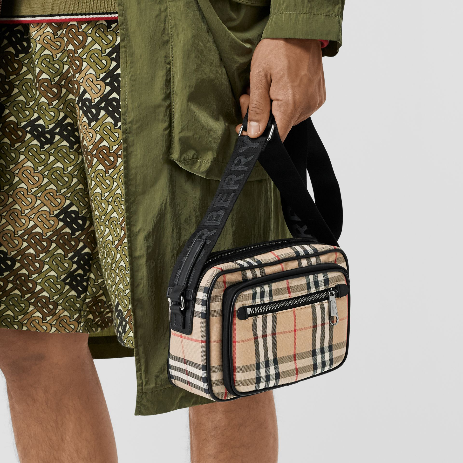 Vintage Check and Leather Crossbody Bag in Archive Beige - Men | Burberry Australia - gallery image 2