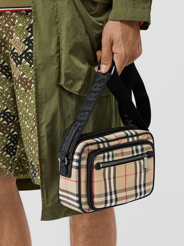 Vintage Check and Leather Crossbody Bag in Archive Beige - Men | Burberry Australia - cell image 2