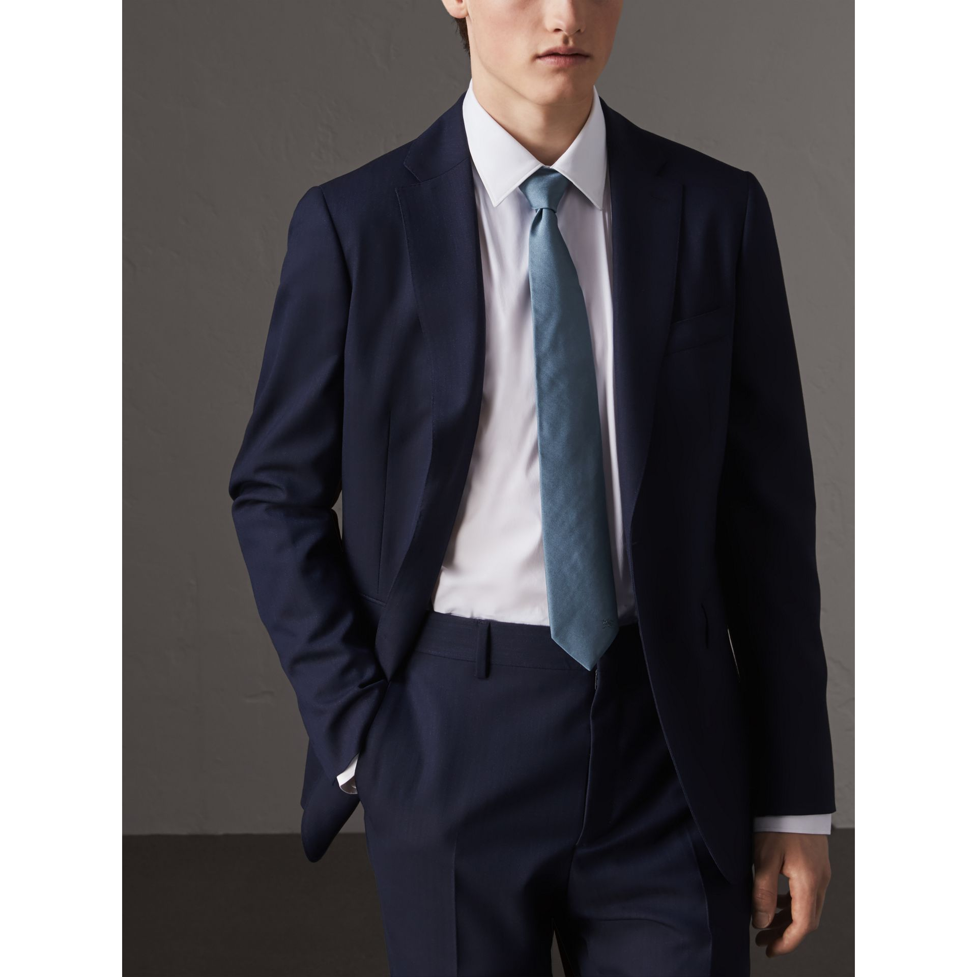 Modern Cut Silk Twill Tie in Sky Blue - Men | Burberry Canada - gallery image 2