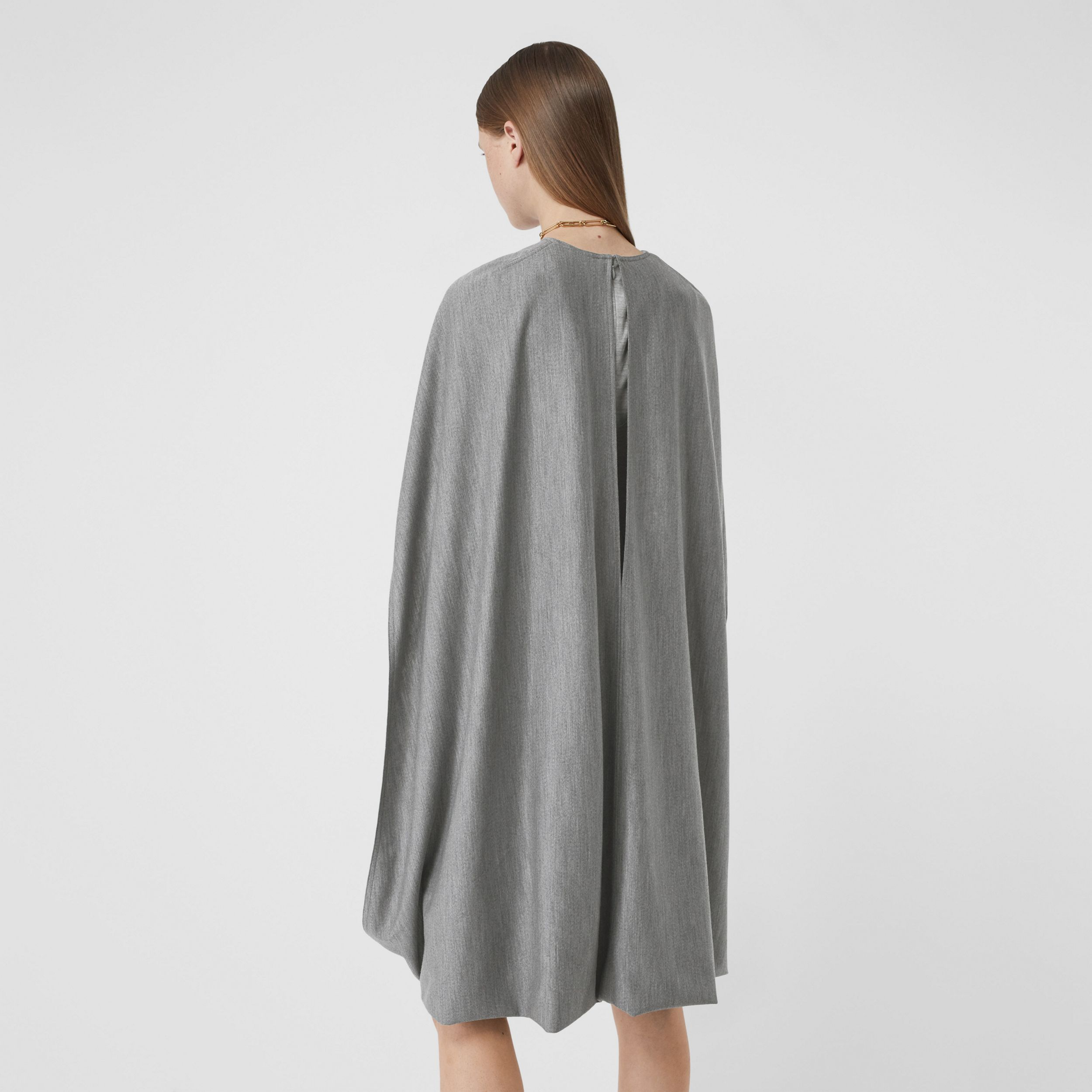 Cape Detail Technical Wool Jersey Shift Dress in Cloud Grey - Women | Burberry - 3