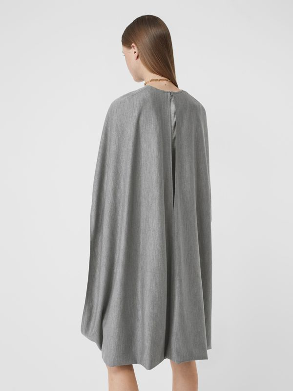 Cape Detail Technical Wool Jersey Shift Dress in Cloud Grey - Women | Burberry United States - cell image 2