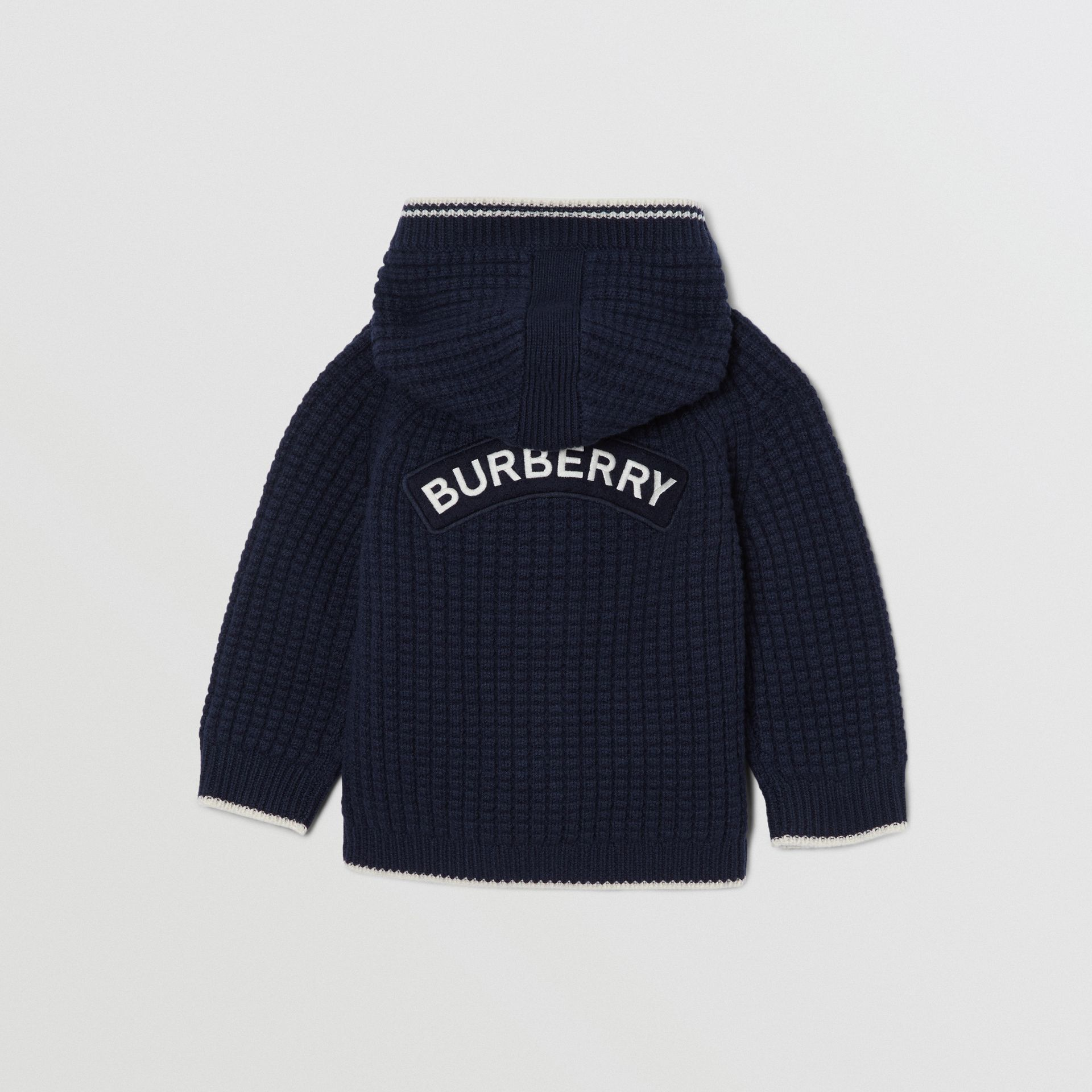 Thomas Bear Detail Wool Cashmere Hooded Jacket in Navy - Children | Burberry United Kingdom - gallery image 3