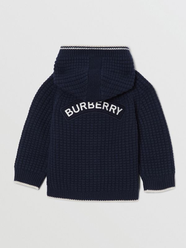 Thomas Bear Detail Wool Cashmere Hooded Jacket in Navy - Children | Burberry United States - cell image 3