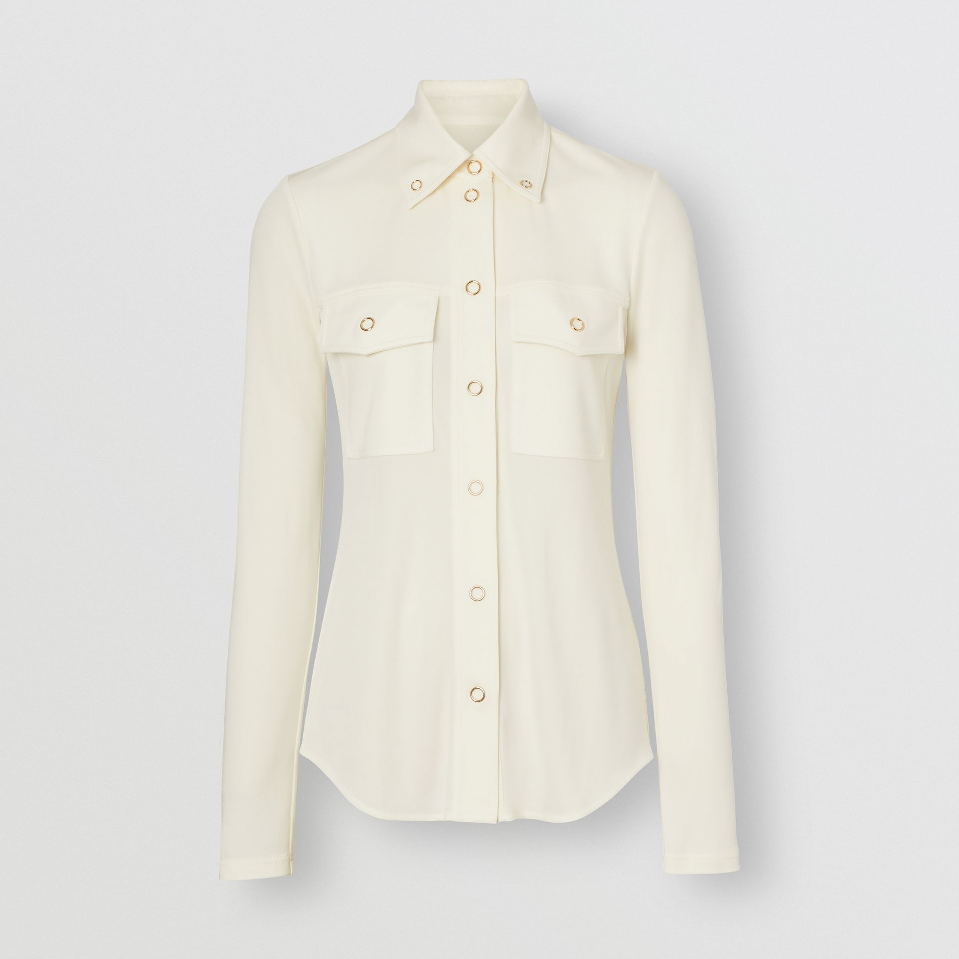 Press-stud Detail Jersey Shirt in Off White - Women | Burberry - gallery image 3