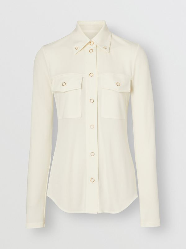 Press-stud Detail Jersey Shirt in Off White - Women | Burberry Hong Kong - cell image 3