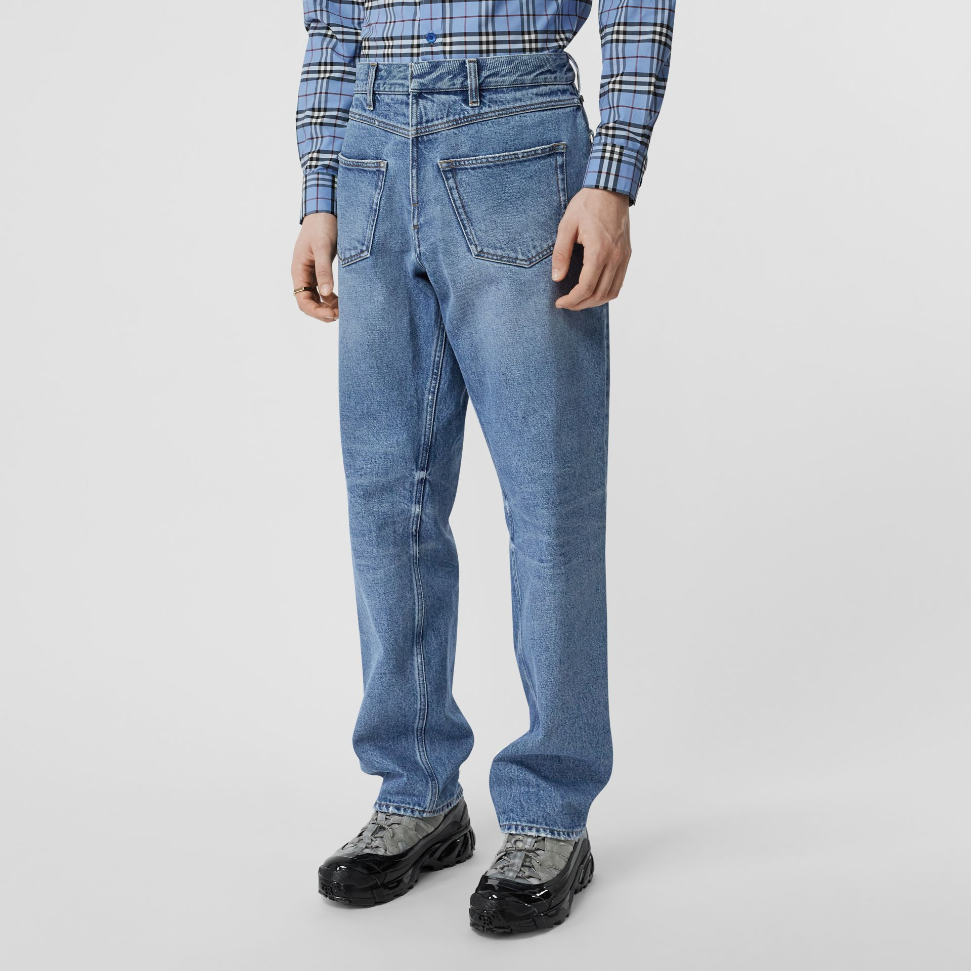 Straight Fit Deconstructed Jeans in Vintage Blue - Men | Burberry - gallery image 5