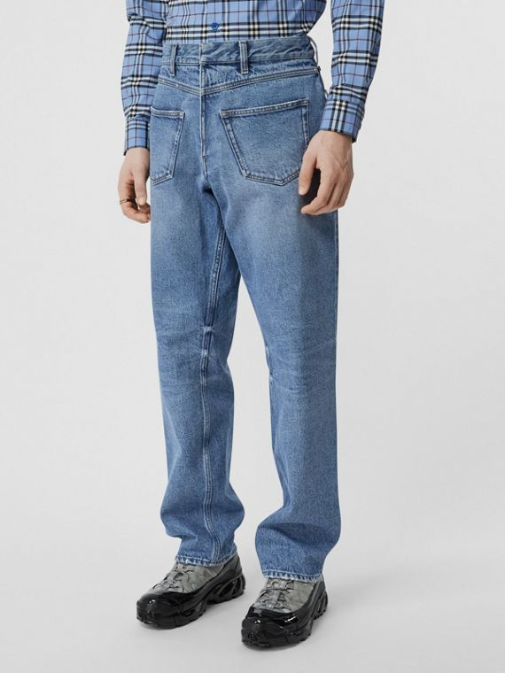 Straight Fit Deconstructed Jeans in Vintage Blue