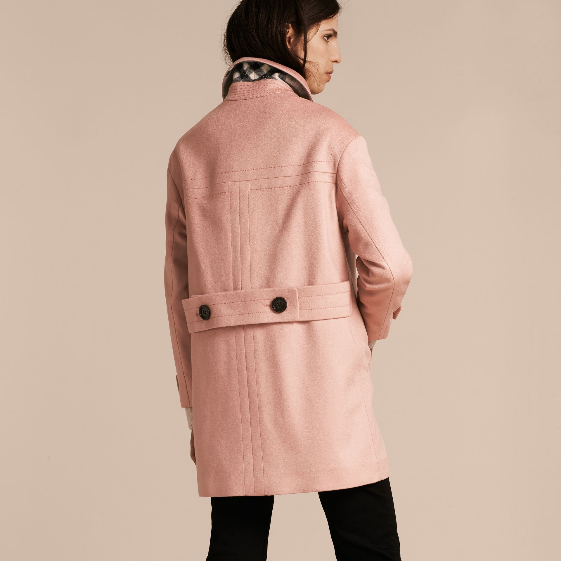 Chalk pink Cashmere Duffle Coat Chalk Pink - gallery image 3