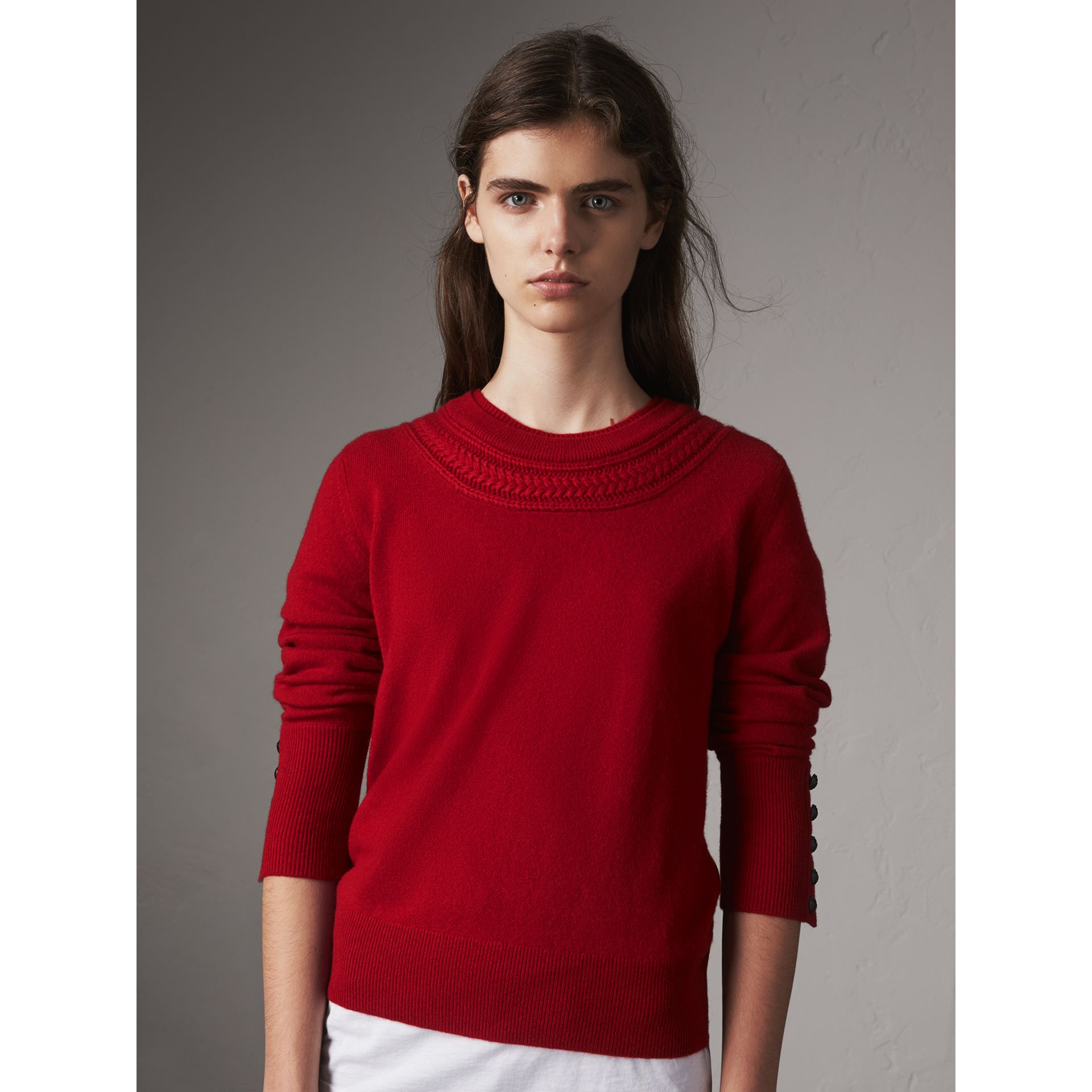 Cable Knit Yoke Cashmere Sweater in Military Red - Women | Burberry - gallery image 1