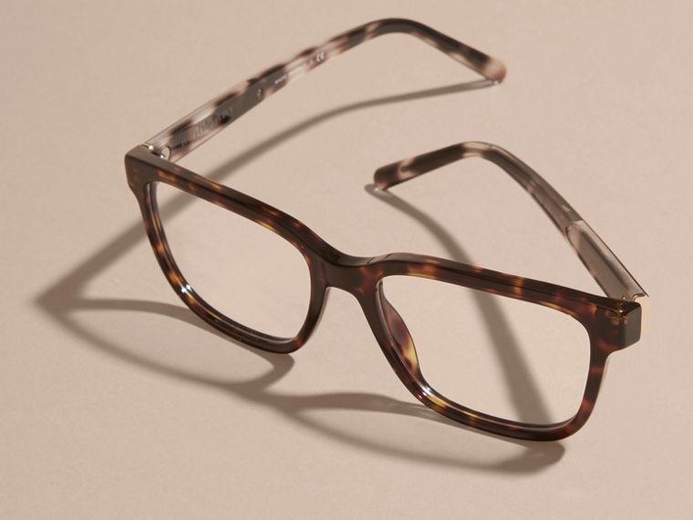 Light russet brown Check Detail Rectangular Optical Frames Light Russet Brown - cell image 4