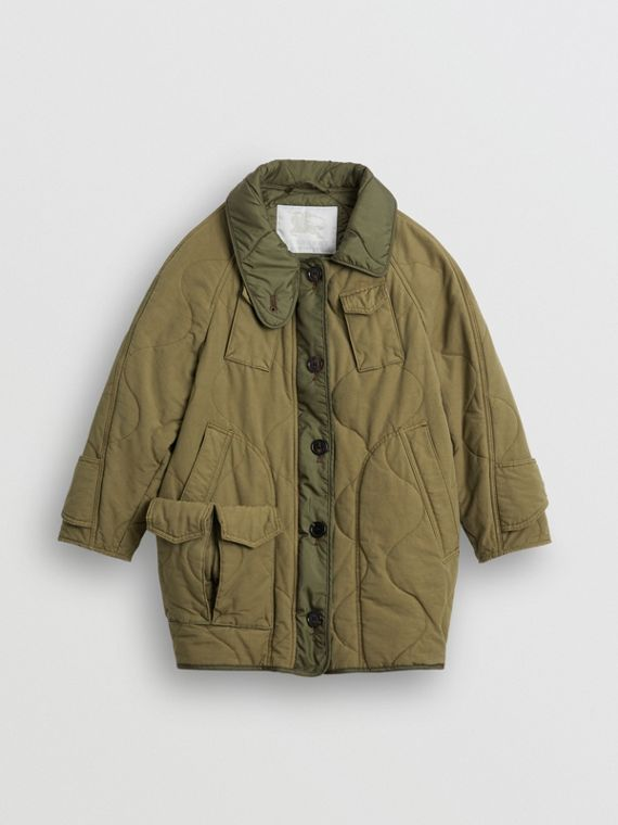 Military Quilted Cotton Coat in Dark Green