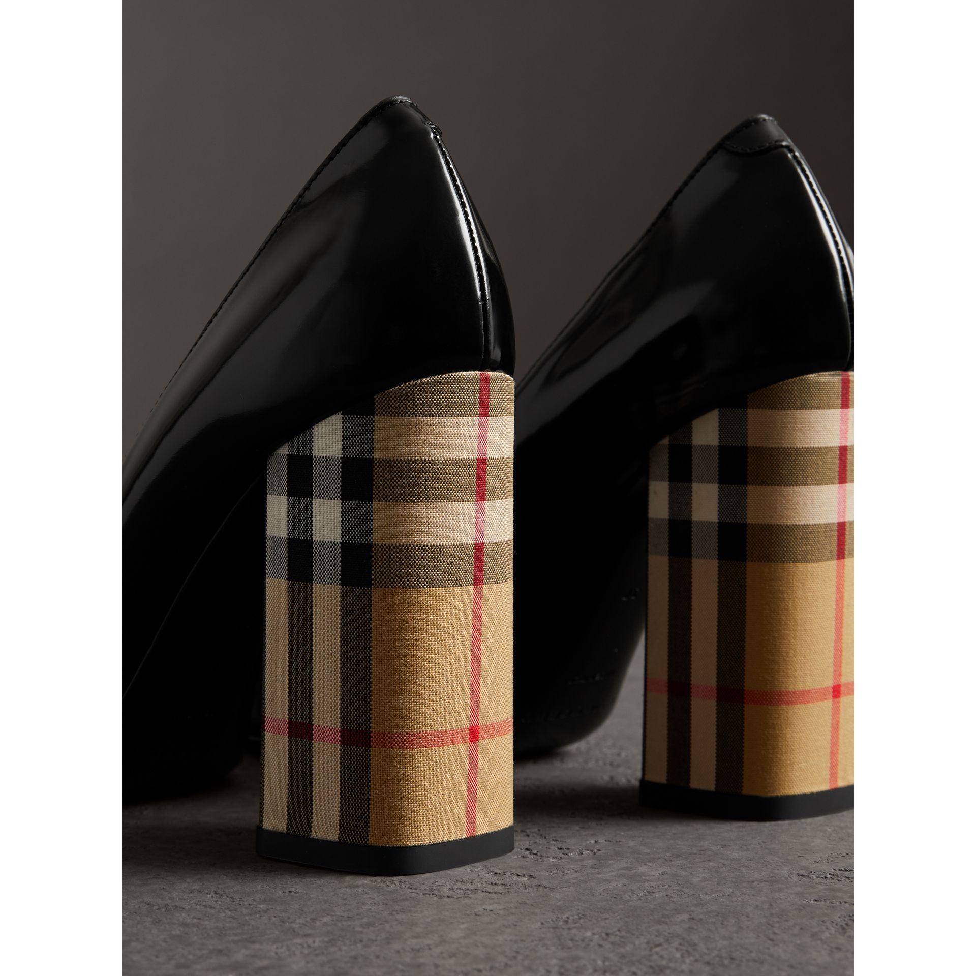 Patent Leather and Vintage Check Block-heel Pumps in Black - Women | Burberry - gallery image 3