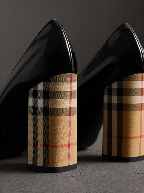Patent Leather and Vintage Check Block-heel Pumps in Black - Women | Burberry - cell image 3