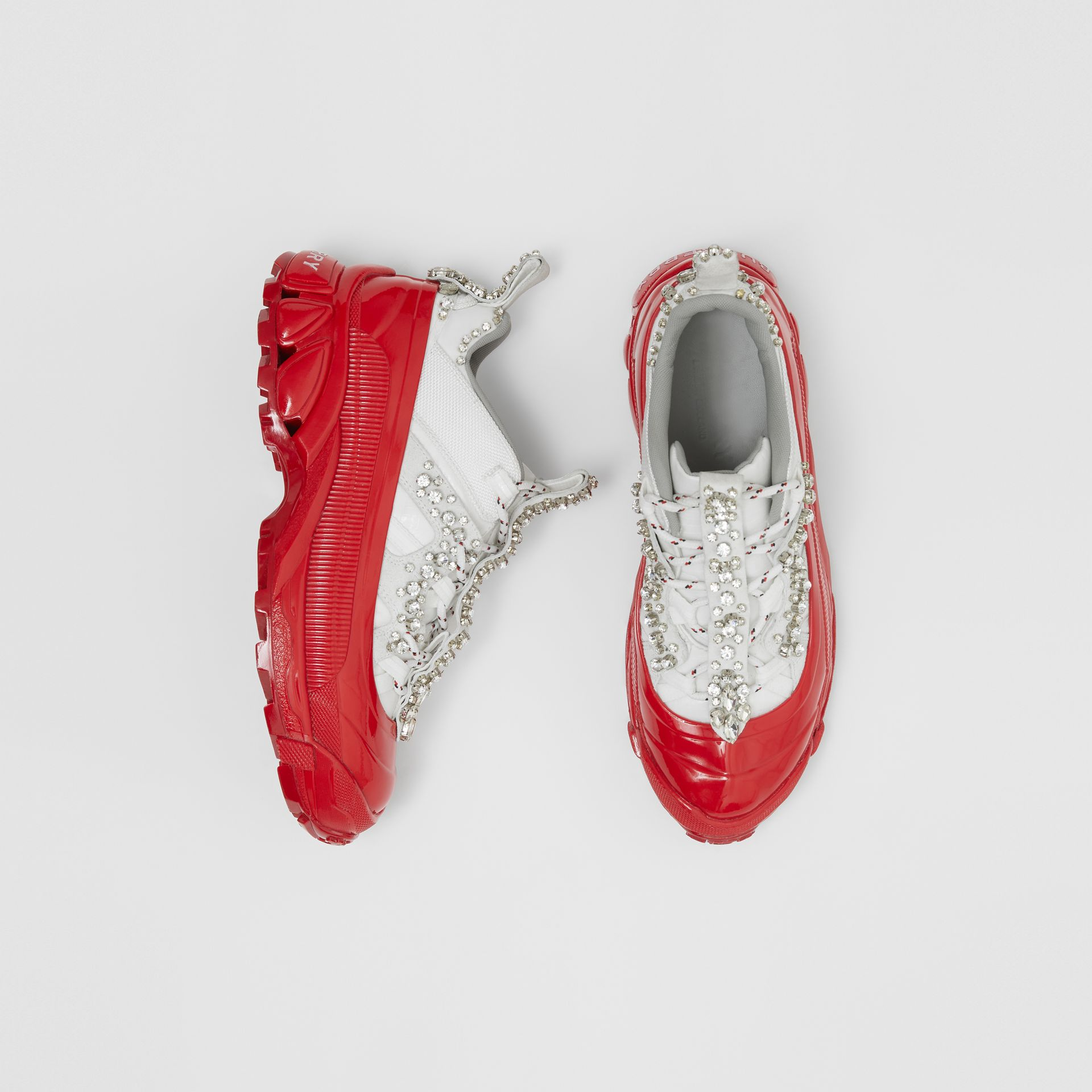 Crystal Detail Suede and Nylon Arthur Sneakers in White/red - Women | Burberry Singapore - gallery image 0