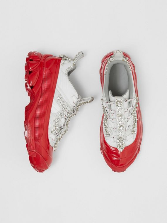 Crystal Detail Suede and Nylon Arthur Sneakers in White/red