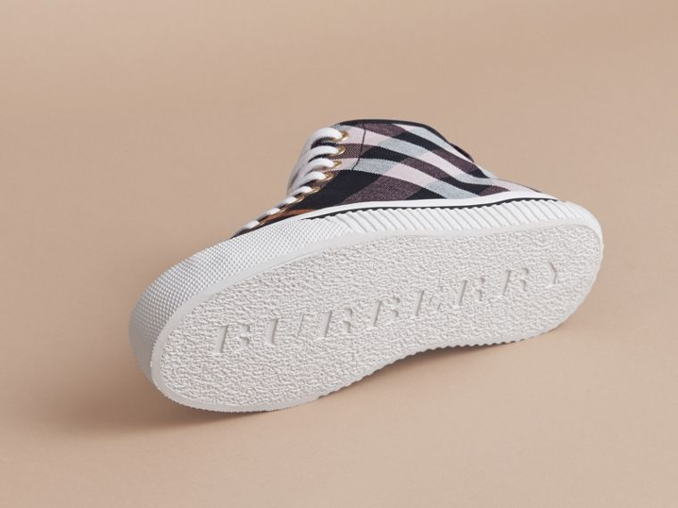 Check Linen Cotton High-top Trainers - Women | Burberry - cell image 4